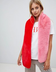 Miss Selfridge Faux Fur Scarf In Pink And Red Pink Red Multi