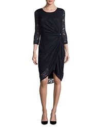 T Tahari Talia Roundneck Lace Dress Navy