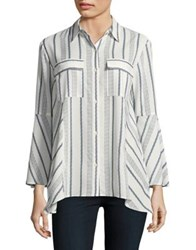 Jones New York Mixed Stripe Bell Sleeve Shirt Ivory Combo