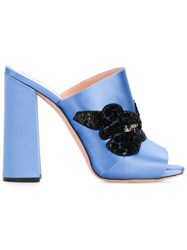 Rochas Sequin Embellished Mules Blue