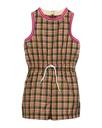 Burberry Pollie Woven Plaid Romper Pink