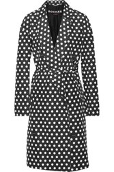Rochas Polka Dot Cotton And Silk Blend Twill Coat Black