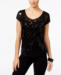 Inc International Concepts Sequined Cap Sleeve Top Only At Macy's Deep Black