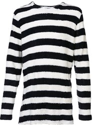 Publish Textured Striped Long Sleeve Top Black