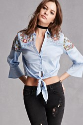 Forever 21 Floral Tie Front Top