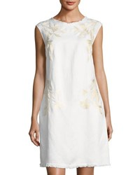 Neiman Marcus Embroidered Linen Blend Shift Dress White