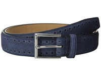 Cole Haan 32Mm Feather Edge Stitched Strap With Perforated Detail Navy Men's Belts