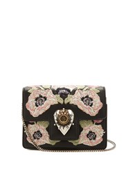 Alexander Mcqueen Heart Mini Poppy Embroidered Leather Shoulder Bag Black Multi