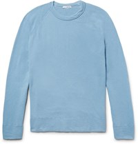 James Perse Loopback Supima Cotton Jersey Sweatshirt Light Blue