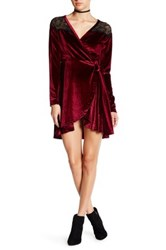 Angie Velvet Faux Wrap Dress Red