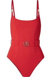 Agent Provocateur Laurella Belted Swimsuit Red