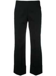 Fay Cropped Wide Trousers Black