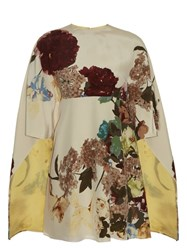 Valentino Kimono 1997 Print Silk Dress Cream Multi