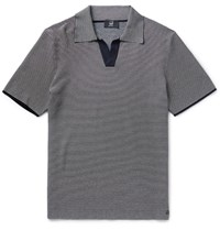 Dunhill Striped Knitted Cotton Polo Shirt Navy