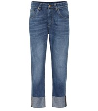 Brunello Cucinelli Embellished Mid Rise Cropped Jeans Blue