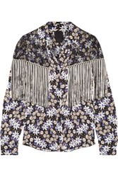 Anna Sui Fringed Lace Paneled Printed Silk Blend Jacquard Blouse Black