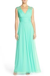 Women's Alfred Sung Shirred Chiffon Cap Sleeve Gown
