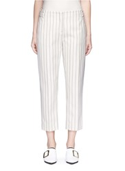 Victoria Beckham Stripe Calvary Twill Cropped Pants White