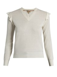 Burberry Ardle V Neck Cashmere Sweater Cream