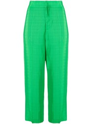 Erika Cavallini Cropped High Waisted Trousers Green
