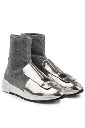 Sergio Rossi Metallic Sock Sneakers With Leather Silver