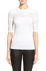 Autumn Cashmere Perforated Elbow Sleeve Crewneck Sweater White