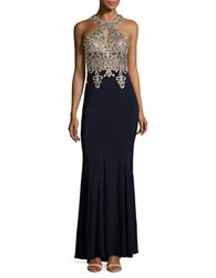 Xscape Evenings Embellished Trumpet Gown Navy Gold
