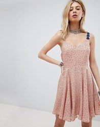 Kiss The Sky Cami Skater Dress With Lace Up Back In Star And Moon Ditsy Print Pink