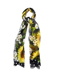 Dolce And Gabbana Sunflower Print Silk Crepe Scarf Black