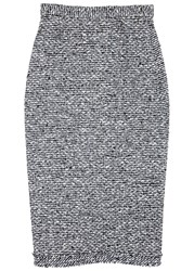 Roland Mouret Norley High Waisted Tweed Pencil Skirt Navy