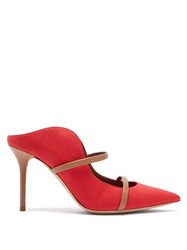 Malone Souliers Maureen Linen And Leather Mules Red