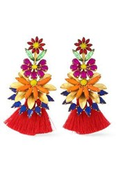 Elizabeth Cole 24 Karat Gold Plated Stone Acrylic And Tassel Earrings Red