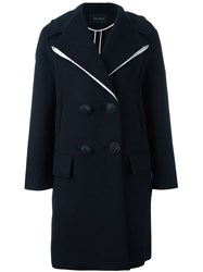 Cedric Charlier Contrasting Detail Coat Blue