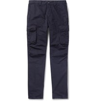 Incotex Slim Fit Cotton And Linen Blend Cargo Trousers Navy