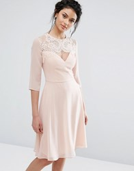 Elise Ryan Lace Sweetheart Midi Dress With 3 4 Sleeve Nude Pink