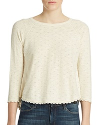 French Connection Scalloped Crop Top Winter White