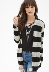 Forever 21 Marled Rugby Stripe Boucle Cardigan