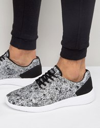 Pull And Bear Pullandbear Runner Trainers With Grey Black Print Grey White