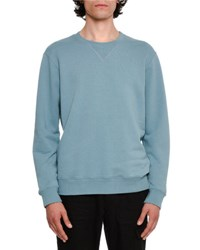 Maison Martin Margiela Cotton Crewneck Sweatshirt With Elbow Patches Medium Blue