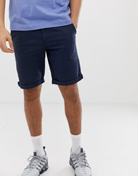 Solid Regular Fit Chino Shorts In Navy Blue