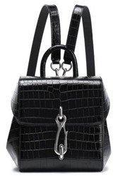 Alexander Wang Woman Hook Croc Effect Leather Backpack Black