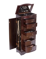 Mele Chelsea Wooden Jewelry Armoire Brown