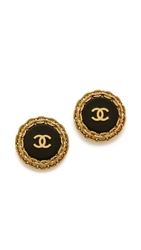 Wgaca Vintage Chanel Chain Around Cc Earrings Black Gold