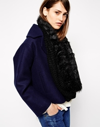 French Connection Chunky Knitted Libby Snood With Faux Fur Trim Black