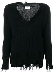 Allude Ripped Ribbed V Neck Sweater Black