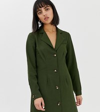 Glamorous Petite Button Front Dress With Collar Forest Green