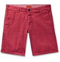 Barena Linen And Cotton Blend Shorts Red
