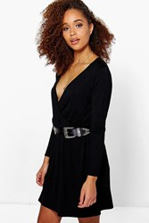 Boohoo Wrap Front Long Sleeve Skater Dress Black