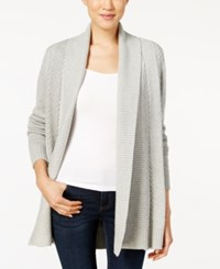 Charter Club Petite Shawl Collar Textured Open Front Cardigan Only At Macy's Heather Platinum