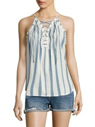 Paige Bria Striped Lace Up Tank Top White Blue Shadow